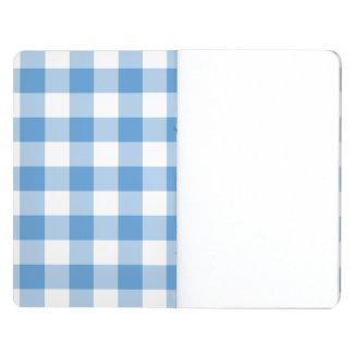 Modelo azul claro y blanco de la guinga cuaderno grapado