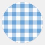 Modelo azul claro y blanco de la guinga etiqueta