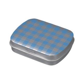 Modelo azul claro y blanco de la guinga latas de caramelos
