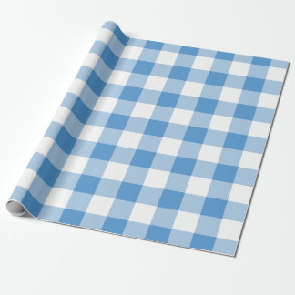 Modelo azul claro y blanco de la guinga papel de regalo