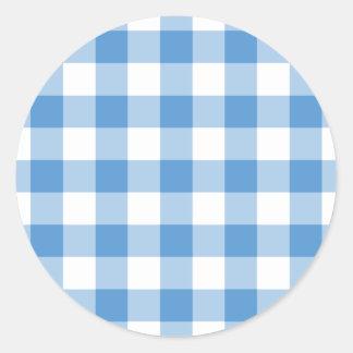 Modelo azul claro y blanco de la guinga pegatina redonda