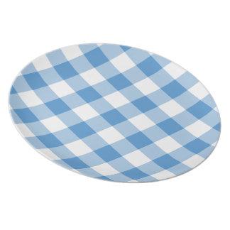 Modelo azul claro y blanco de la guinga plato de cena