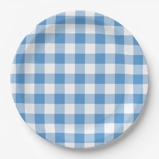 Modelo azul claro y blanco de la guinga plato de papel de 9 pulgadas