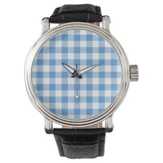 Modelo azul claro y blanco de la guinga relojes