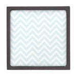 Modelo azul claro y blanco de la raya de Chevron Cajas De Regalo De Calidad