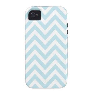Modelo azul claro y blanco de la raya de Chevron Vibe iPhone 4 Carcasa