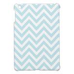 Modelo azul claro y blanco de la raya de Chevron iPad Mini Fundas