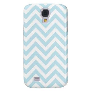 Modelo azul claro y blanco de la raya de Chevron Samsung Galaxy S4 Cover