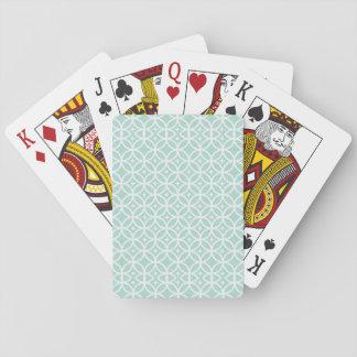 Modelo azul claro y blanco del círculo y de barajas de cartas