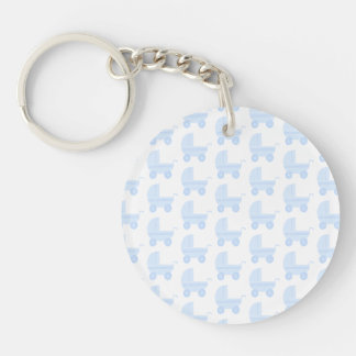 Modelo azul claro y blanco del cochecito de bebé llavero redondo acrílico a doble cara