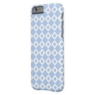 Modelo azul claro y blanco del diamante funda de iPhone 6 barely there
