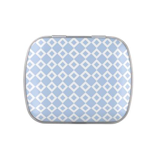 Modelo azul claro y blanco del diamante frascos de dulces