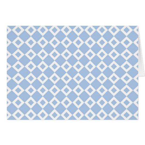 Modelo azul claro y blanco del diamante tarjeta de felicitación