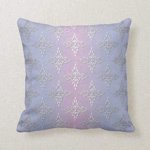Modelo azul claro y de la lavanda del damasco cojines