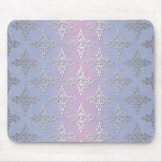 Modelo azul claro y de la lavanda del damasco alfombrillas de ratón
