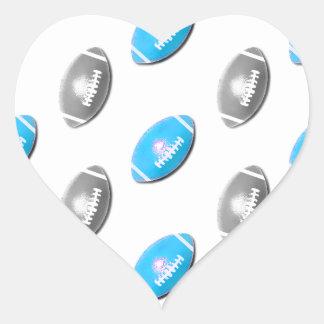 Modelo azul claro y de plata del fútbol pegatina en forma de corazón