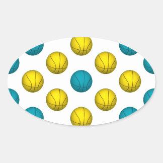 Modelo azul claro y del oro del baloncesto calcomanía de oval