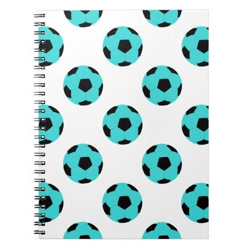 Modelo azul claro y negro del balón de fútbol libros de apuntes con espiral