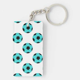 Modelo azul claro y negro del balón de fútbol llavero rectangular acrílico a doble cara