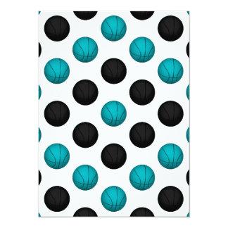 """Modelo azul claro y negro del baloncesto invitación 5.5"""" x 7.5"""""""