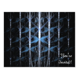 "Modelo azul claro y negro. Fractal Art. Invitación 4.25"" X 5.5"""