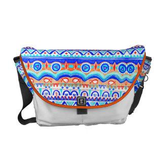 Modelo azul colorido azteca del naranja y del blan bolsa de mensajeria