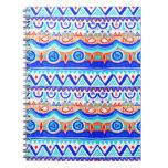 Modelo azul colorido azteca del naranja y del blan libretas