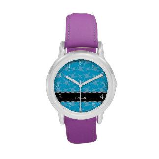 Modelo azul conocido personalizado de los cráneos relojes de pulsera