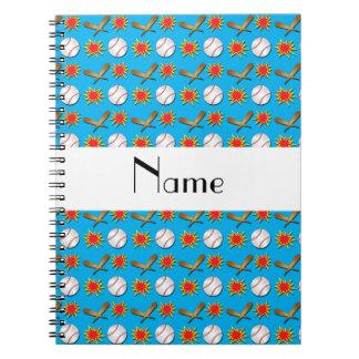 Modelo azul conocido personalizado del béisbol spiral notebooks