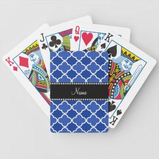 Modelo azul conocido personalizado del quatrefoil barajas de cartas