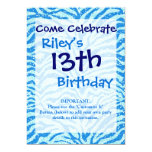 Modelo azul de Bling de la raya de la cebra de la Invitación 12,7 X 17,8 Cm