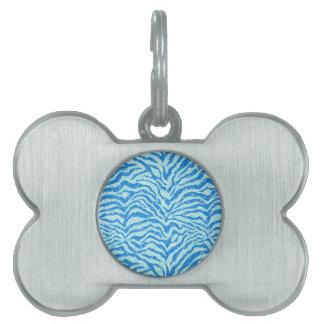Modelo azul de Bling de la raya de la cebra de la  Placa De Mascota