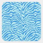 Modelo azul de Bling de la raya de la cebra de la Pegatina Cuadrada