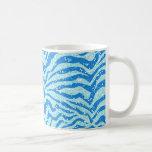 Modelo azul de Bling de la raya de la cebra de la  Tazas De Café