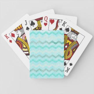 Modelo azul de Chevron de la aguamarina moderna Cartas De Póquer