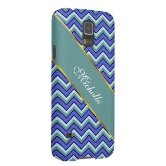 Modelo azul de Chevron del zafiro Fundas Para Galaxy S5