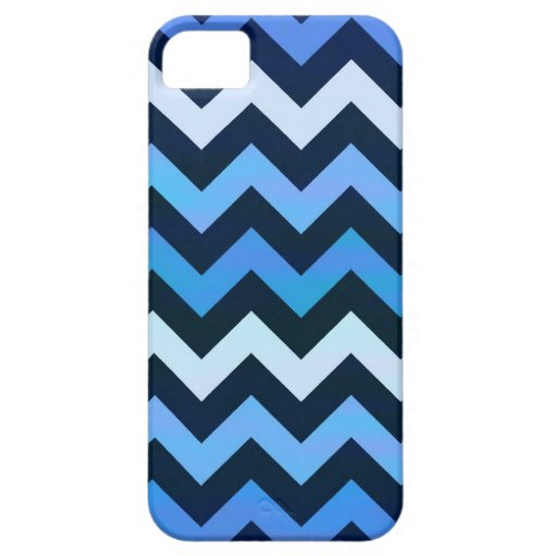 Modelo azul de Chevron iPhone 5 Case-Mate Funda