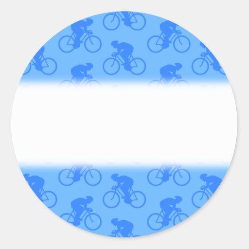 Modelo azul de la bici pegatinas redondas