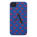 Modelo azul de la cereza del monograma iPhone 4 fundas