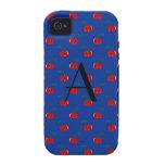 Modelo azul de la cereza del monograma iPhone 4/4S funda
