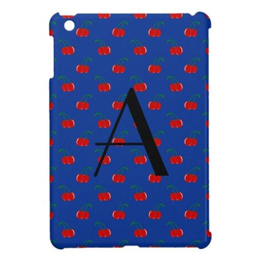 Modelo azul de la cereza del monograma iPad mini protectores