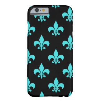 modelo azul de la flor de lis de la aguamarina funda para iPhone 6 barely there