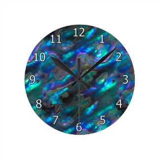 Modelo azul de la foto de la textura nacarada reloj redondo mediano