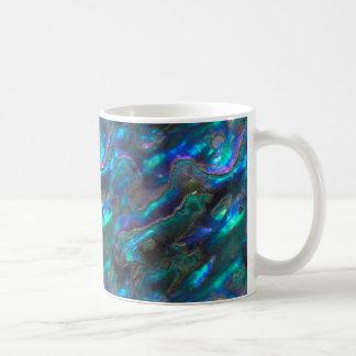 Modelo azul de la foto de la textura nacarada taza clásica
