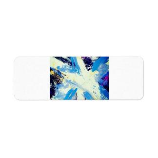 modelo azul de la pintura del colorfull etiqueta de remitente