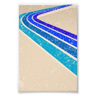 Modelo azul de la pista del vintage arte fotográfico