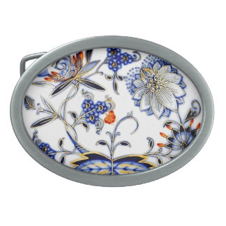 Modelo azul de la placa de China del vintage de la Hebilla De Cinturón Oval