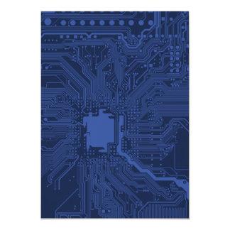 Modelo azul de la placa madre del friki invitación 12,7 x 17,8 cm