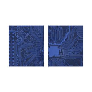 Modelo azul de la placa madre del friki impresiones en lienzo estiradas