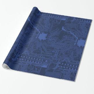 Modelo azul de la placa madre del friki papel de regalo